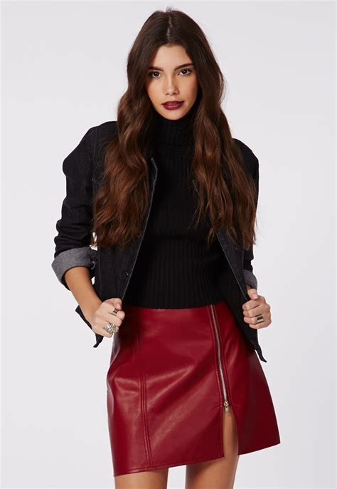 missguided faux leather zip a line skirt burgundy