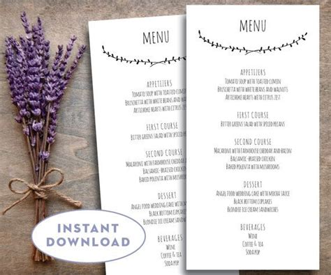 1000 Ideas About Wedding Menu Template On Pinterest Printable Wedding Place Cards Pocket 4x8 Invitation Template