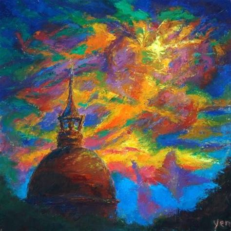 Colourful Arts Series 17 original cathedral dome painting colorful surreal