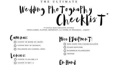 Wedding Gear Checklist miss creative the ultimate wedding gear checklist