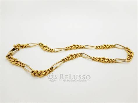 catena pomellato catena pomellato maglia figaro in oro giallo 18kt