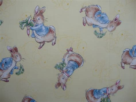 Rabbit Quilt Fabric by Fq Beatrix Potter Rabbit On Yellow Toile Quilting