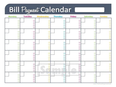 bill paying calendar template calendar template 2017