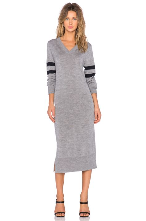 V Knitted Longsleeve lyst t by wang v neck sleeve knit dress in gray