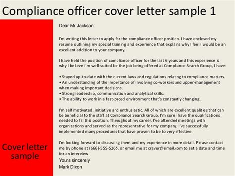 Compliance Cover Letter Compliance Officer Cover Letter