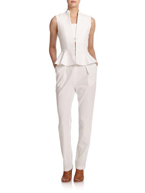Jumpsuit Peplum Bordir White erica peplum jumpsuit in white white lyst
