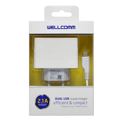 jual travel charger dual usb 2 1a output wellcomm eben