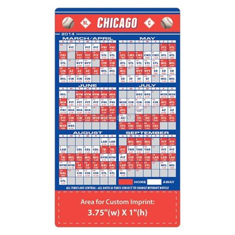 chicago cubs baseball team schedule magnets 4 quot x 7