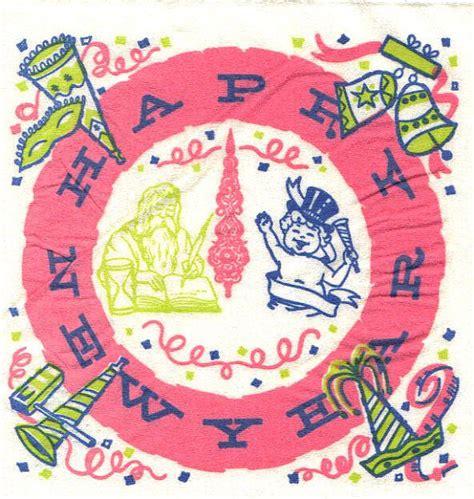 new years napkins 1960s napkins happy new year unopened new