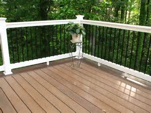 How To Install Pvc Decking by Longevity Black Aluminum Balusters With White Pvc Deck