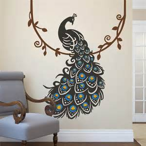 Vinyl Peacock Wall Decals Whyrll Com