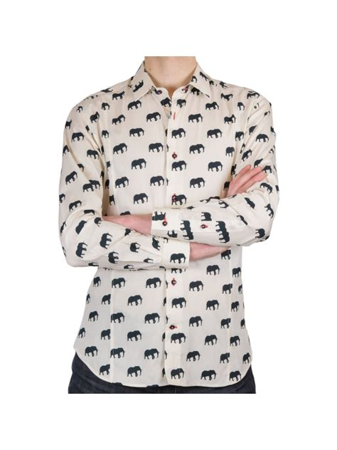 pattern elephant shirt men s fitted shirt elephant pattern