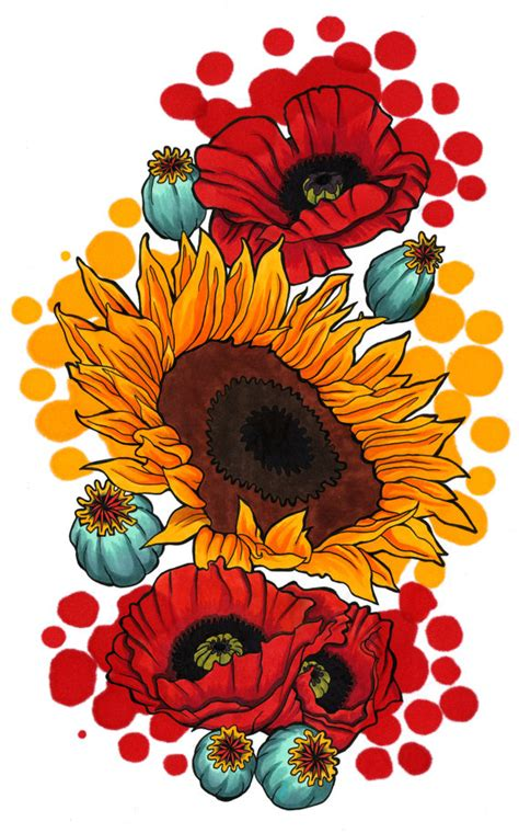 watercolor tattoos bristol sunflower poppy print colorful and yellow