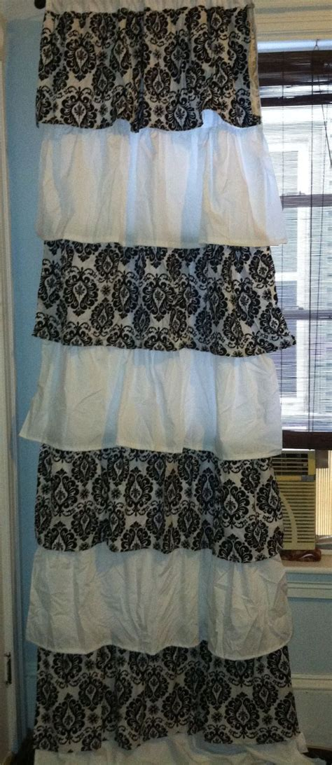 Paris Bedroom Curtains | damask and white ruffled curtains for my paris theme