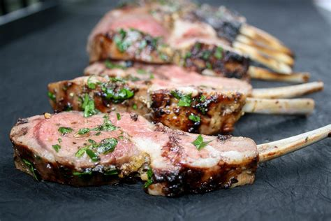rack of lamb on grill grilled rack of lamb female foodie
