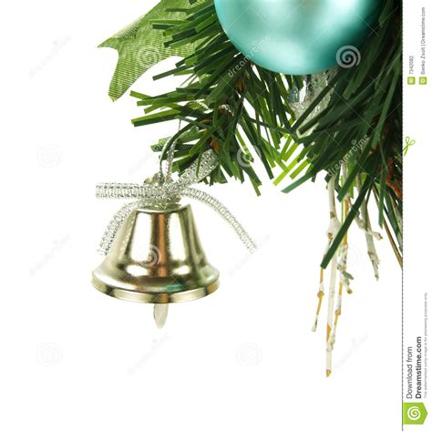 bell hanging on christmas tree stock photography image