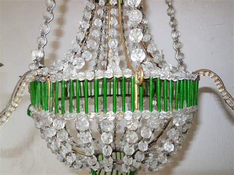 Green Beaded Chandelier Beaded Glass Green Chandelier At 1stdibs