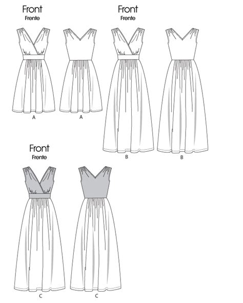 empire line pattern making mccall s 6308 misses dress in two lengths
