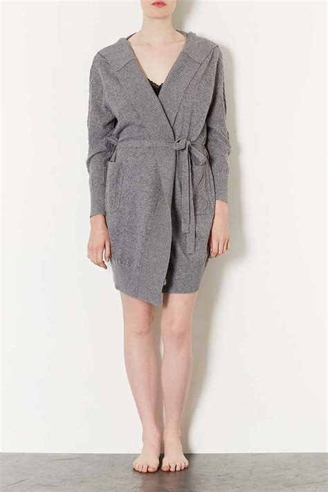 cable knit robe lyst topshop cable knit robe in gray