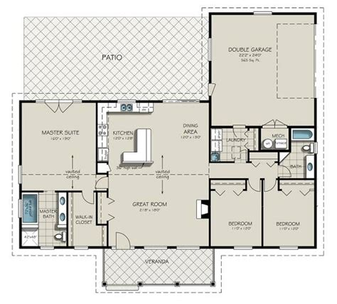 2 Bedroom 2 Bath Ranch House Plans by About House Plans Also 2 Bedroom Bath Ranch Floor