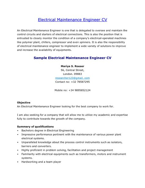 cover letter electrical maintenance engineer electrical maintenance resume sle resume ideas