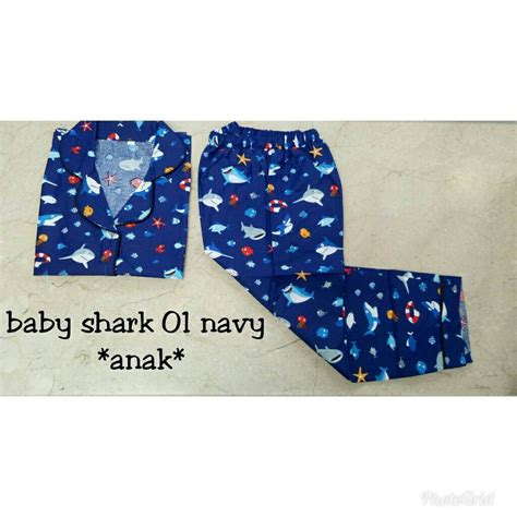Piyama Pendek Katun Jepang 14 jual baju tidur setelan piyama katun jepang cp anak laki perempuan cowok cewek baby shark 01 di