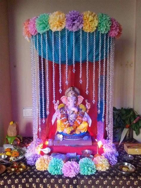 ganesh mandap ganpati decoration  home goddess decor