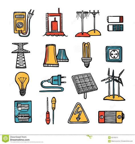 doodle how to make electricity power and energy icon set stock vector image of energy