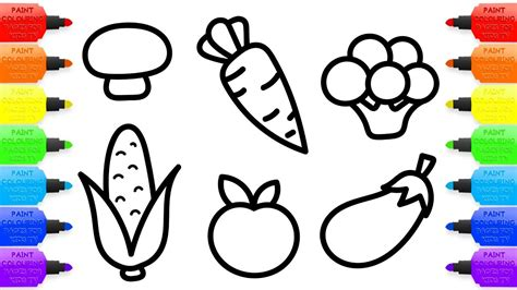 draw coloring book how to draw vegetables for baby coloring book and drawing