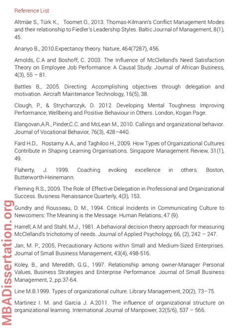 Mba Dissertation Format by Mba Dissertation Sle On Organizational Behavior