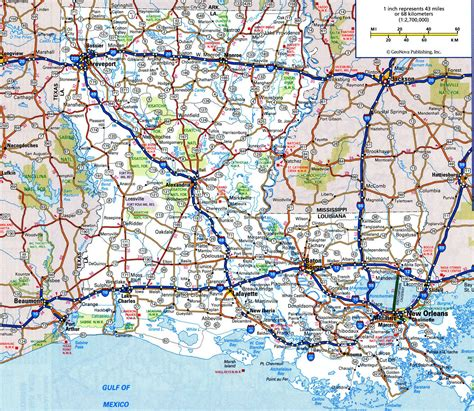 road atlas map of texas louisiana state road