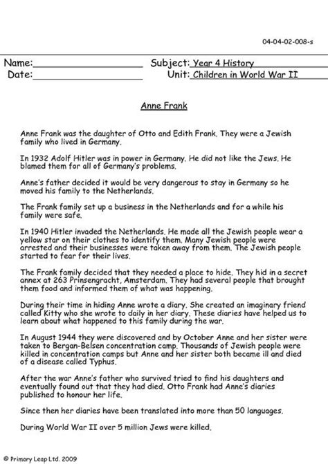 anne frank biography for middle school anne frank worksheets wiildcreative