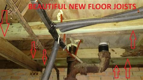bathroom subfloor repair bathroom subfloor repair toilet floor joist 9 years later just needs paint