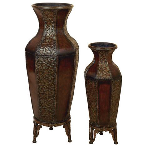 Benzara 90362 Set Of 2 Spanish Courtyard Metal Flower Vases W Stand 46 inch   Walmart.com