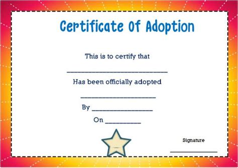 blank adoption certificate template 14 blank adoption certificate templates for you to