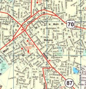 map of burlington carolina alamance county closeup