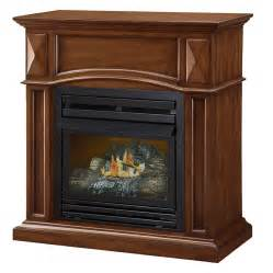 Fireplace Logs Lowes by Shop Pleasant Hearth 35 75 In Dual Burner Vent Free Cherry