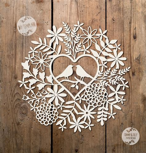 pattern paper cutting svg pdf love birds foliage design papercutting template to