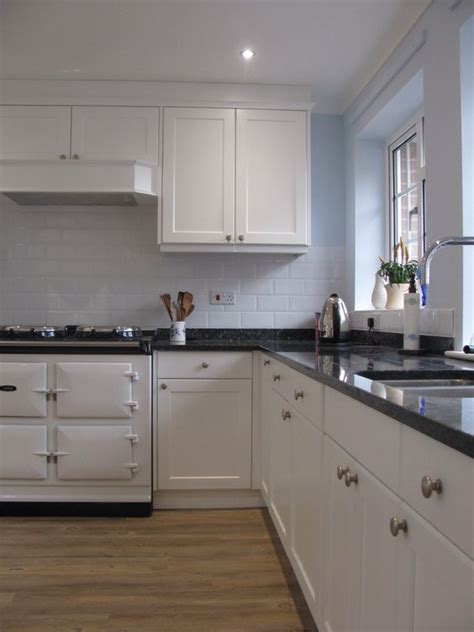 Blue Pearl Granite White Cabinets by Bespoke Kitchen Finished In Satin White With Blue Pearl