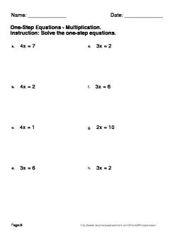 printable math worksheets one step equations one step equations multiplication division worksheets
