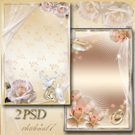 wedding frames for photoshop frames for photoshop wedding roses gold rings by