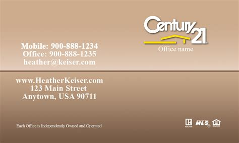 century 21 business card with realtor photo brown design