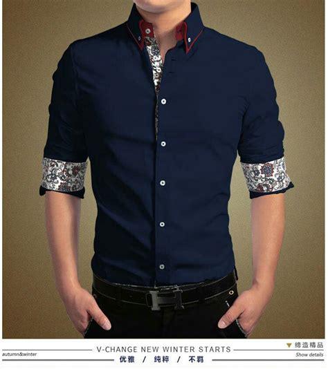baju kemeja pria lengan panjang slim fit keren model terbaru