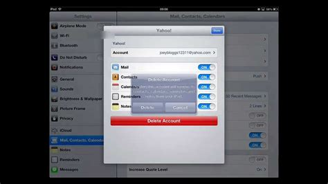 how to delete email account on and iphone