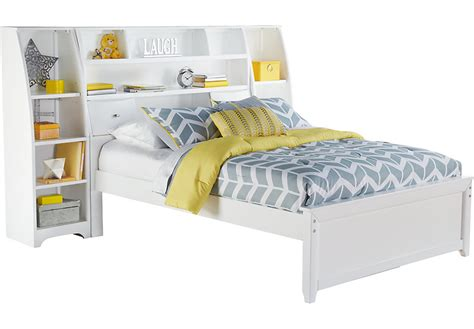 ivy league white 5 pc full bookcase wall bed with storage