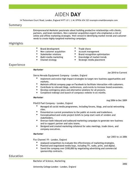 sle marketing cv template cv template for marketing best template exles