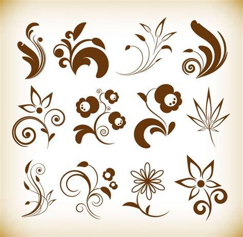 floral design elements vector set flower floral design elements vector set free vector