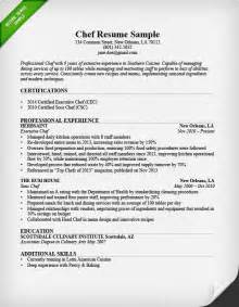 Resume Sle For Chef cook resume sle best business template