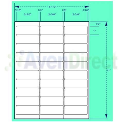 Avery 8460 Template 6000 address labels white laser inkjet 1 quot x2 5 8 quot 5160