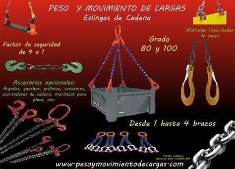 cadenas eslingas eslingas de cadena peso y movimiento de cargas pmc